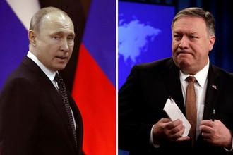 Президент России Владимир Путин и госсекретарь США Майк Помпео, коллаж «Газеты.Ru»