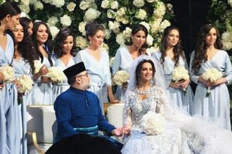 Во время церемонии бракосочетания короля Малайзии Мухаммада Пятого и россиянки Оксаны Воеводиной в Москве, 22 ноября 2018 года