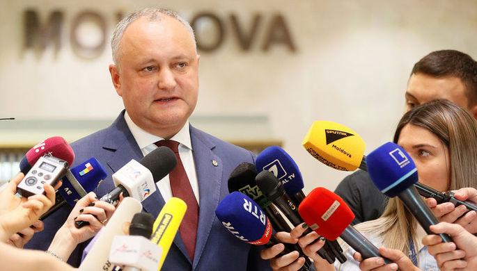 Президент Молдавии Игорь Додон во время пресс-конференции в Кишиневе, июнь 2019 года