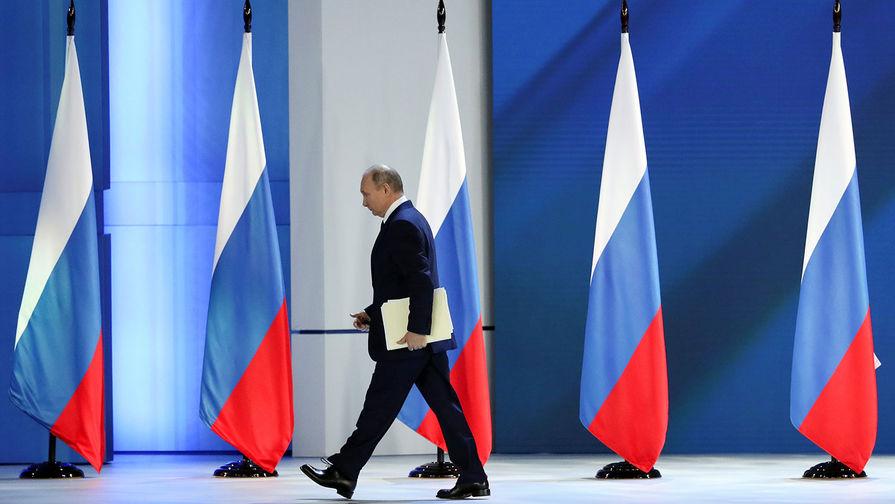 Президент России Владимир Путин после выступления с ежегодным посланием Федеральному Собранию, 21 апреля 2021 года