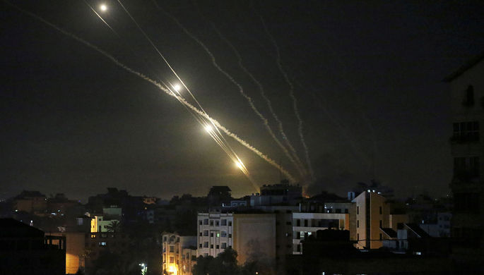 Ракеты, выпущенные палестинскими боевиками по Израилю, 12 мая 2021 года