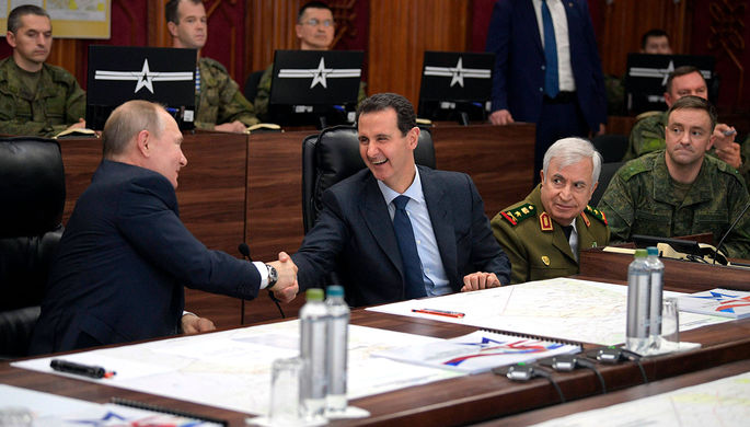 Президент РФ Владимир Путин и президент Сирии Башар Асад во время встречи в Дамаске, 7 января 2020 года