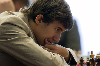 Сергей Карякин во время традиционного кругового гроссмейстерского турнира, 2010 год
