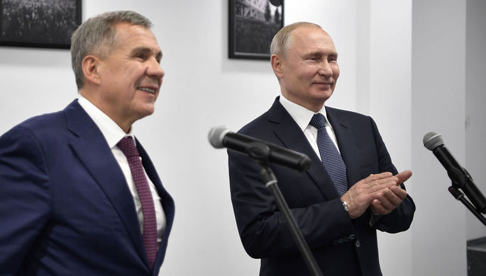 Президент России Владимир Путин и президент Республики Татарстан Рустам Минниханов