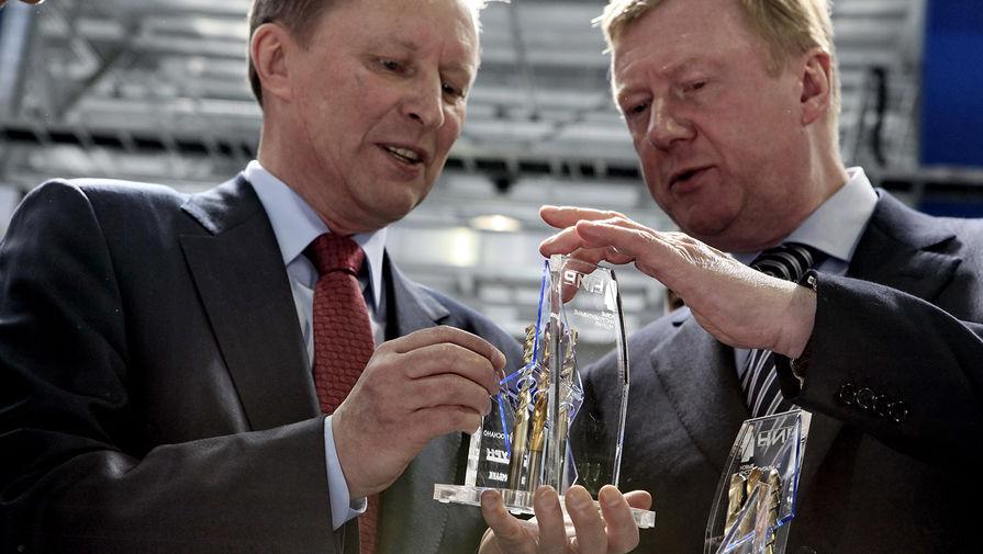 Вице-премьер России Сергей Иванов и глава «Роснано» Анатолий Чубайс (слева направо) на открытии завода по производству твердосплавного инструмента с наноструктурированным покрытием, 2010 го