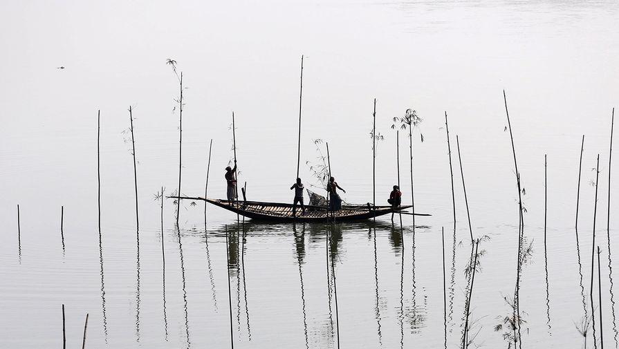 Рыбаки делают ловушки для рыбы из стеблей и веток бамбука на реке в Дакке, Бангладеш