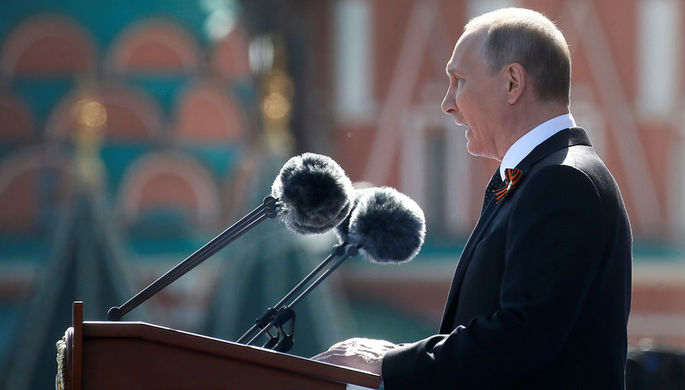 Владимир Путин на военном параде, посвященном 73-й годовщине Победы в Великой Отечественной войне...