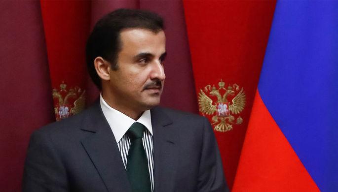 Шейх Тамим бен Хамад Аль Тани на встрече в Кремле, 2018 год