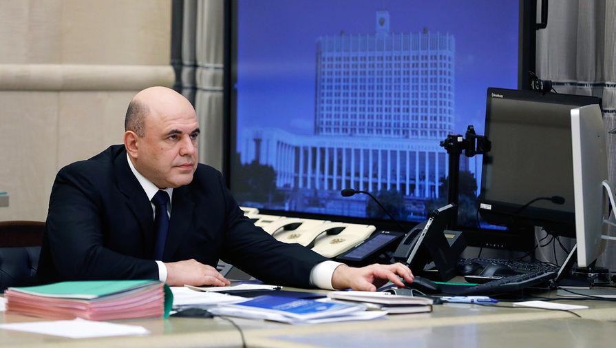 Председатель правительства России Михаил Мишустин во время совещания с членами кабинета министров в режиме видеоконференции, 30 апреля 2020 года