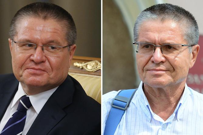 Алексей Улюкаев перед началом заседания кабинета министров РФ в Доме правительства РФ, 5 марта 2015 года, и у Замоскворецкого суда Москвы, 8 августа 2017 года
