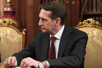 Руководитель Службы внешней разведки РФ Сергей Нарышкин на совещании в Кремле в связи с убийством российского посла в Турции Андрея Карлова