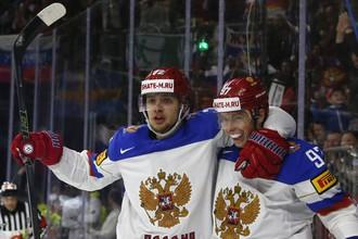 Ведущие игроки сборной России Никита Гусев и Артемий Панарин