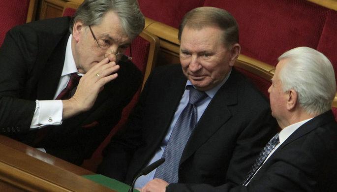 Экс-президенты Украины Виктор Ющенко, Леонид Кучма и Леонид Кравчук (слева направо) на заседании Верховной Рады Украины, 2014 год