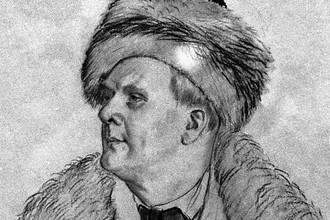Репродукция этюда к портрету Федора Шаляпина работы художника Бориса Кустодиева, 1921 год