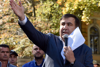 Бывший президент Грузии, экс-губернатор Одесской области Михаил Саакашвили во время выступления в Киеве