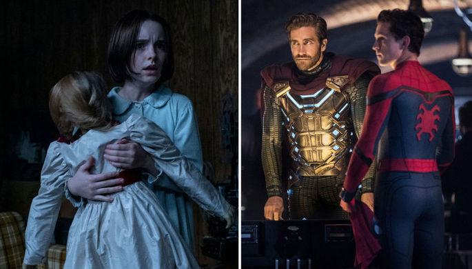 Кадр из фильмов «Проклятие Аннабель» и «Человек-Паук» (2019)