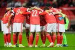 Игроки сборной России передматчем отборочного этапа чемпионата мира пофутболу 2022года междусборными России и Словакии