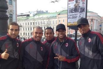 Футболисты «Милана» на Дворцовой площади