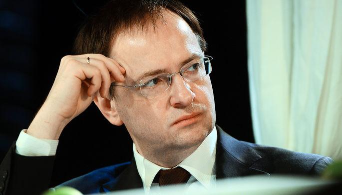Министр культуры России Владимир Мединский на мероприятии в Москве, 11 апреля 2017 года