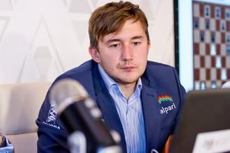 Сергей Карякин на турнире в Шамкире