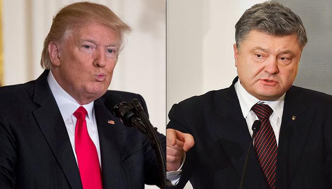 Президент США Дональд Трамп и президент Украины Петр Порошенко