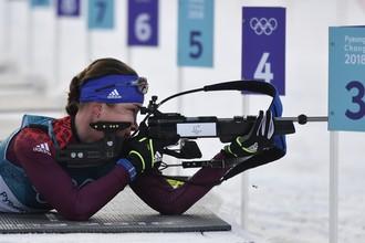 Российская биатлонистка Ульяна Кайшева на индивидуальной гонке Игр-2018