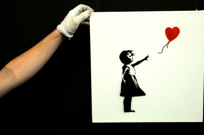 Работа Бэнкси «Девочка с красным шаром» в аукционном доме Sotheby's, 2007 год