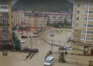 Затопление в одном из дворов Адлера, 25 октября 2018 года