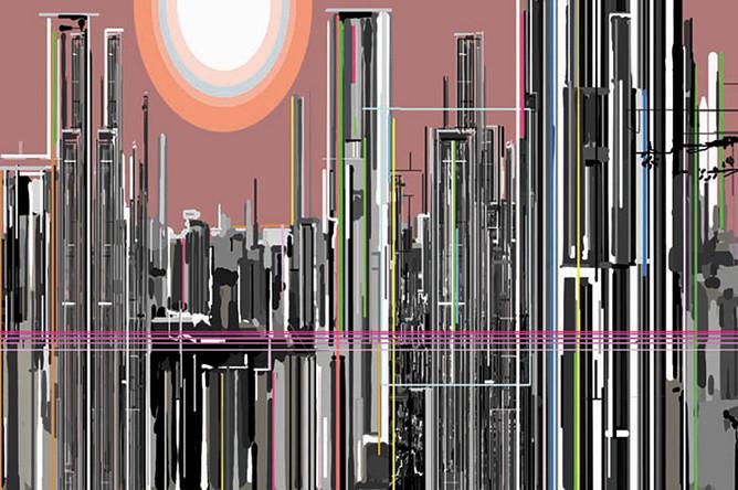 Лю Вэй.Фиолетовый воздух.Живопись. Холст, масло. 300 х 540 см. 2006