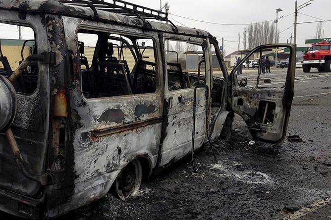 На месте взрыва у поста ГИБДД в Дагестане