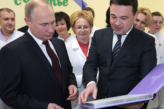 Владимир Путин во время посещения Коломенского центра материнства и детства, 17 января 2018 года