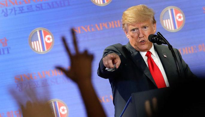 Президент США Дональд Трамп во время пресс-конференции в Сингапуре, июнь 2018 года