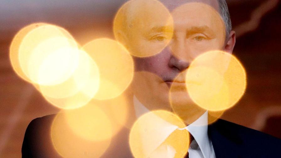Президент России Владимир Путин на большой ежегодной пресс-конференции в Центре международной торговли на Красной Пресне, 19 декабря 2019 года