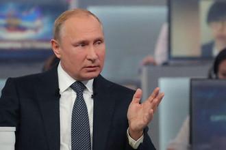 Во время «прямой линии» с президентом России Владимиром Путиным в Москве, 7 июня 2018 года
