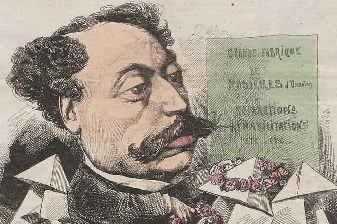 Александр Дюма-сын в изображении карикатуриста Андре Жилля на обложке журнала «Ля Люн», 1867 год. Фрагмент.