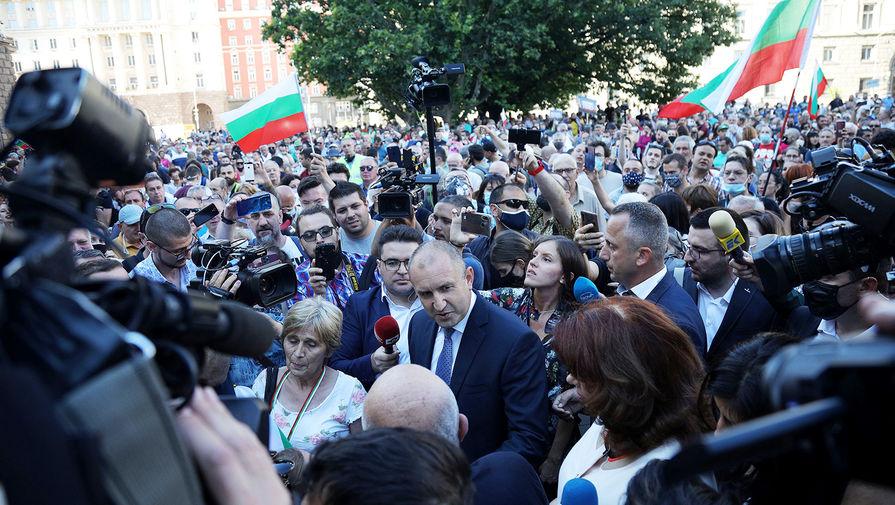 Президент Болгарии Румен Радев во время демонстрации в Софии, 9 июля 2020 года