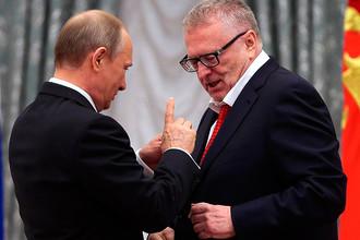 Президент РФ Владимир Путин и лидер ЛДПР Владимир Жириновский