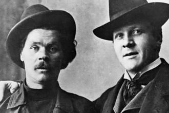 Писатель Алексей Максимович Горький (слева) и певец Федор Иванович Шаляпин (справа), 1903 год