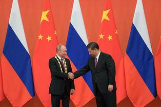 Президент России Владимир Путин и председатель КНР Си Цзиньпин, 8 июня 2018 года