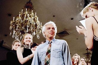 Модельер Ральф Лорен во время презентации осенней коллекции в Нью-Йорке, 1987 год