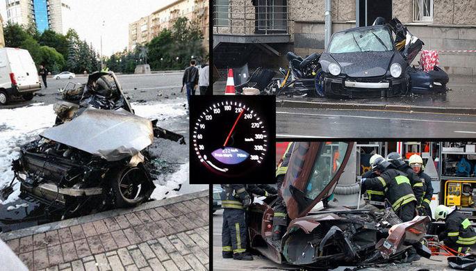 Коллаж из фотографий с последствиями серьезных аварий с участием спорткаров в Москве