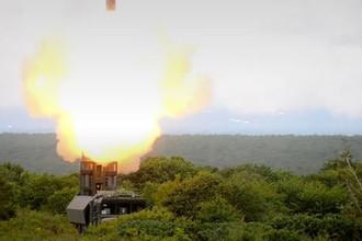 Пуск крылатых ракет «Оникс» берегового комплекса «Бастион»