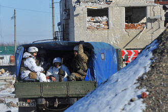 Украинские военные на позициях около Авдеевки