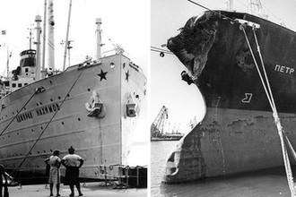 Пароход «Адмирал Нахимов» (до столкновения) и сухогруз «Петр Васев» (после столкновения) (коллаж)