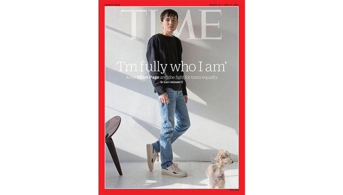 Эллиот Пейдж в 2018 году и на фотосессии из журнала Time в 2021 году (коллаж)