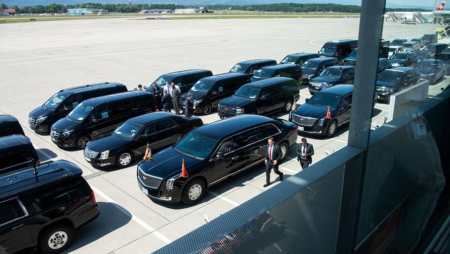 Кортеж президента США Джо Байдена в аэропорту Женевы, 15 июня 2021 года