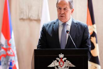 Министр иностранных дел Сергей Лавров во время выступления с лекцией в Военной академии Генштаба ВС России, 23 марта 2017 года
