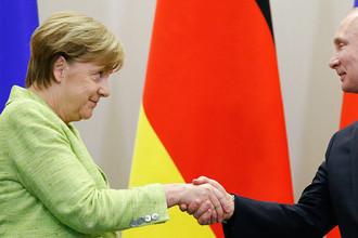 Канцлер ФРГ Ангела Меркель и президент России Владимир Путин после переговоров в Сочи, 2 мая 2017 года