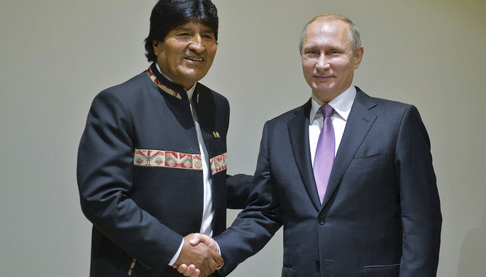 Президент Боливии Эво Моралес и Владимир Путин