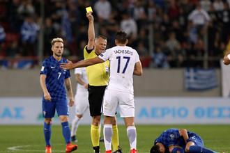 Сборная Хорватии в матче с национальной командой Греции